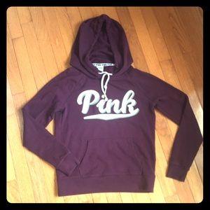 VS PINK Plum Logo Oversized Hoodie Sweatshirt EUC